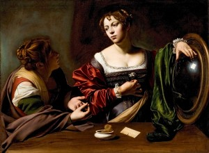 Martha and Mary Magdalen (1595–96, oil and tempera on canvas, 39⅜