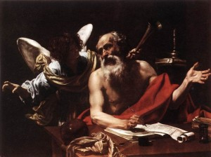 Simon Vouet, Saint Jerome and the Angel (c. 1622, oil on canvas, 57