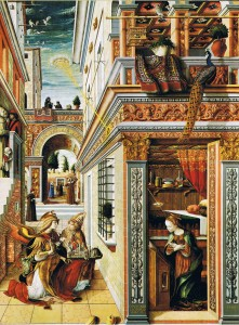 Carlo Crivelli, The Annunciation with Saint Emidius (1486, egg tempera and oil on canvas, 81½