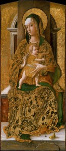 Carlo Crivelli, Madonna and Child Enthroned (1472, tempera on wood, gold ground, 38¾