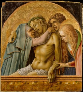 Carlo Crivelli, Pietà (1476, tempera on wood, gold ground, 28¼