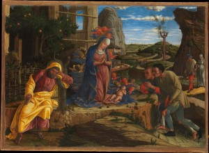 Andrea Mantegna, Adoration of the Shepherds (c. 1450, tempera on canvas, transferred from wood, 15¾ x 21⅞
