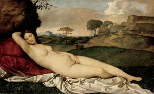 Giorgione da Castelfranco, Sleeping Venus (1508-10, oil on canvas, 42.7 x 69 in [108.5 x 175 cm]). Gemaldegalerie, Dresden.