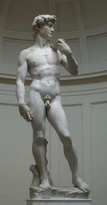 Michelangelo Buonarroti, David (1501-1504, Carrara marble, 17 ft [5.17 m]). Galleria dell'Accademia, Florence.