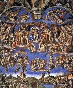 Michelangelo Buonarroti, The Last Judgment (1536-1541, fresco, 45 x 39.4 ft [13.7 x 12 meters]). Sistine Chapel, Vatican City.