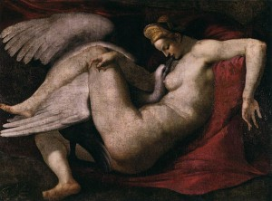 After Michelangelo Buonarroti, Leda and the Swan (known only from copies) (c. 1529-31, oil on canvas, 41.3 x 55.5 in [105 x 141 cm.]). National Gallery of Art, London.