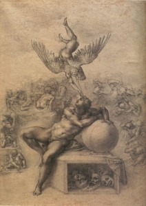 Michelangelo Buonarroti, The Dream (c. 1533, black chalk on laid paper, 15.6 x 11.9 in [39.6 x 27.9 cm]). Courtauld Gallery, London.