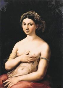 Raffaello Sanzio da Urbino (Raphael), La Fornarina (c. 1520, oil on panel, 33 x 24 in [85 x 60 cm]). Palazzo Barberini, Rome.