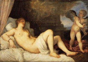 Tiziano Vecellio di Gregorio (Titian), Danaë and the Shower of Gold (1544-46, oil on canvas, 47.25 x 67.72 in [120 x 172 cm]). Museo Nazionale di Capodimonte, Naples.