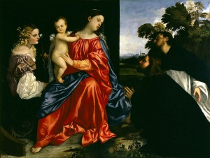 Tiziano Vecellio di Gregorio (Titian), Madonna and Child with Saints Catherine, Dominic and a Donor (1513, oil on canvas, 54 x 72 in [137 x 184 cm]). Fondazione Magnani-Rocca, Parma.