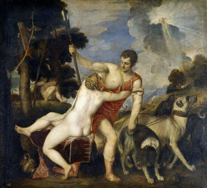 Tiziano Vecellio di Gregorio (Titian), Venus and Adonis (c. 1554, oil on canvas, 73 x 81 in [186 x 207 cm]). Museo del Prado, Madrid.