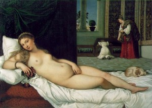 Tiziano Vecellio di Gregorio (Titian), Venus of Urbino (1538, oil on canvas, 47 x 65 in [119 x 165 cm]). Courtesy Uffizi Gallery, Florence.