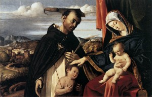 Virgin and Child with St. Peter Martyr (1503, oil on wood panel, 21⅞