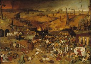 Pieter Brueghel the Elder, The Triumph of Death (c. 1562, oil on panel, 46 x 634/5 in [117 x 162 cm]).  Museo del Prado, Madrid.