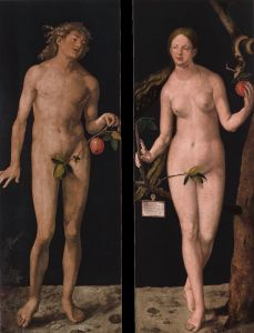 Albrecht Dürer, Adam and Eve (1507, oil on two panels, each 82 x 32 in [209 x 81 cm]).  Image courtesy Museo del Prado, Madrid.