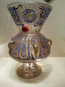 Mosque Lamp of Sultan Barquq, Egypt or Syria, Mamluk period (c. 1382-99, enameled and gilded glass).  The Metropolitan Museum of Art, New York.