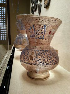 Mosque Lamp of Ahmir Ahmad al-Mahmandar, Egypt or Syria, Mamluk Period (c. 1325, enameled and gilded glass) and others.