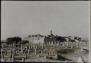 View of Madrasa al-Firdaws from Nearby Cemetery. Photo © Creswell Archive, Ashmolean Museum, neg. EA.CA.5837. Image courtesy of Fine Arts Library, Harvard College Library.