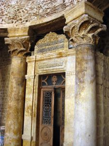 Acanthus-leaf Column Capitals, Madrasa al-Halawiyya, Aleppo, Syria. Photo taken no later than 2012.