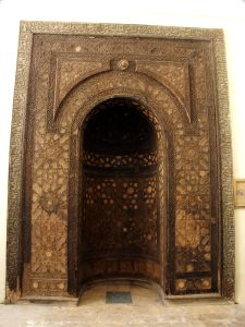 Carved Wooden Mihrab, Madrasa al-Halawiyya, Aleppo, Syria. Photo taken no later than 2012.