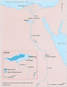 Map of Fayum Lake District from Paul Roberts, Mummy Portraits from Roman Egypt (London: the British Museum Press, 2008.