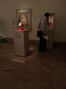 "Viewer in the ""Gallery of Egypt Under Roman Rule 30 B.C. to 400 A.D."" at The Metropolitan Museum of Art.  Photo © Deborah Feller."