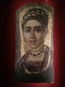 Young Woman with a Gilded Wreath, Egypt, Roman Period (120–140 CE, encaustic with gold leaf on wood , 14⅜ x 7 in [36.5 x 17.8 cm]).  The Metropolitan Museum of Art, New York.  Photo © Deborah Feller.