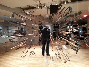 Damián Ortega, Controller of the Universe (2007, found tools and wire, dimensions vary). Collection of Glenn and Amanda Fuhrman, New York.