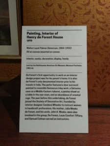 Label for Walter Launt Palmer, Painting, Interior of Henry de Forest House.